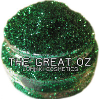 The Great Oz GLITTER 5 Gram Full Size Jar Emerald Green Wizard of Oz Gemstone Green Gem Green Magic Glitter Collection Lumikki Cosmetics