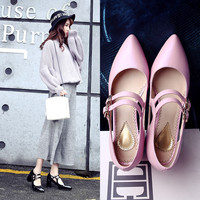 Summer Leather Pointed Toe High Heel Shoes [6050211777]