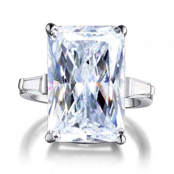 Radiant Cut Simulated Diamond 925 Silver 5 Silver Ring
