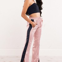High Waist Side Slit Side Stripe Jogger Pants in Pink - AKIRA