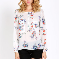 White Floral Long Sleeve Chiffon Blouse