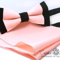 Peach pink silk pre-tied bow tie plus matching square