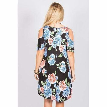Floral Open Shoulder Tunic - Black - M