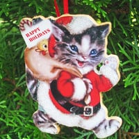 Cat Dressed as Santa, Christmas Handmade, Wooden Ornament, Santa Claus Suit, Kitty Ornament, Teacher Gift, Cat Lover Gift, Yellow Duck, Toys