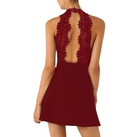 Shein Womens Sleeveless Wine Red With Lace Backless Dress
