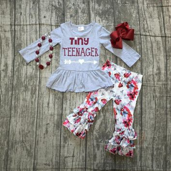 thanksgiving Fall/Winter baby girls outfits pant tiny teenager floral grey children clothes ruffle boutique match accessories