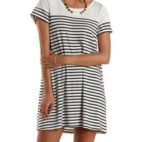 Black Combo Striped Trapeze T-Shirt Dress by Charlotte Russe