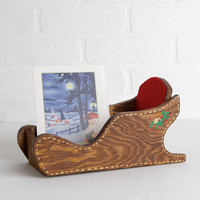 Vintage Wood Christmas Card Holder Sled with Red Felt Lining, Santas Sleigh