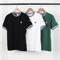 HCXX 2147 Champion T-shirt with embroidered short sleeves with small neckline stripes