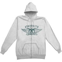 Aerosmith Men's  Boston Zippered Hooded Sweatshirt Grey