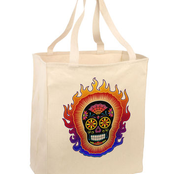 Sacred Calavera Day of the Dead Sugar Skull Large Grocery Tote Bag