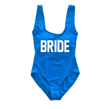 Royal Blue BRIDE One Piece Swimsuit