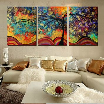 Large Colorful Whimsical Tree Painting