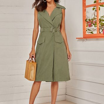 Pocket Side Sleeveless Belted Midi Dress