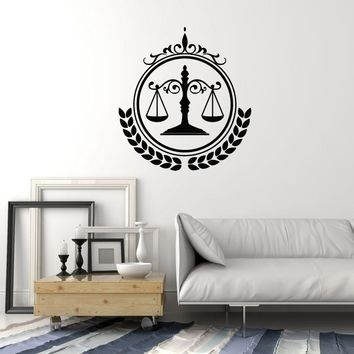 Vinyl Wall Decal Lawyer Firm Law Justice Judge Court Scales Art Stickers Mural (ig5589)