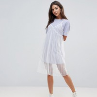 The English Factory Mesh Slip Dress With T-Shirt at asos.com