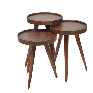"TV Tray Table Round Walnut Wood 3 pcs. 15""X15""X H:24"""