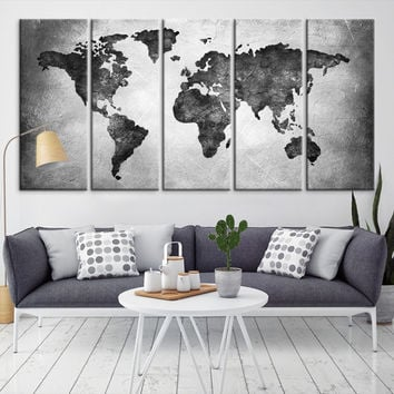 25432 - Large Wall Art World Map Canvas Print-  Black World Map Travel Canvas Print- Modern XXL Large Wall Art World Map Canvas Print