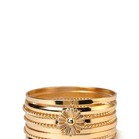FOREVER 21 Charmed Daisy Bangle Set Gold