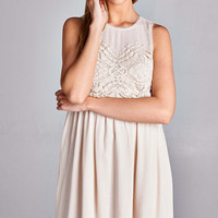 Lace Detail Baby Doll Dress - Natural