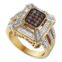 Cognac Diamond Fashion Ring in 14k Gold 0.88 ctw