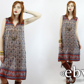 Vintage 70s Indian Cotton Dress S M L Hippie Dress India Dress Indian Dress Hippy Dress Boho Dress Festival Dress Cotton Dress Ethnic Print