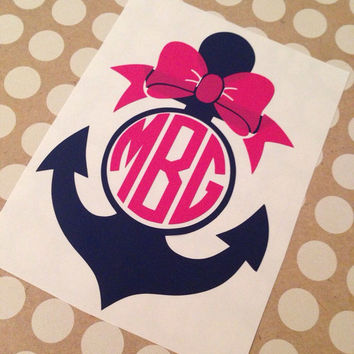 Anchor monogram anchor with bow monogram monogrammed decal anchor monogram decal personalized