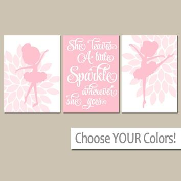 BALLERINA Wall Art, CANVAS or Prints, She Leaves A Little Sparkle, Baby Girl Pink Nursery Decor, Bedroom Pictures, Dancer Decor, Set of 3
