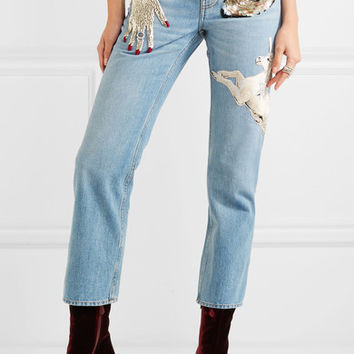 Alexander McQueen - Obsession embellished cropped high-rise slim-leg jeans