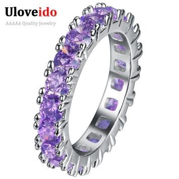 Crystal Jewelry Silver Ring with Stones Engagement Purple Cubic Zirconia Wedding Rings for Women Anel Anillos Jewellery PJ144