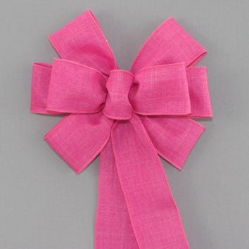 Hot Pink Rustic Linen Wreath Bow