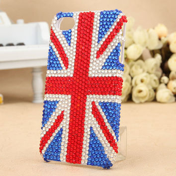 iPhone 4 case cover England Flag iphone 5 crystals Rhinestone Handmade jewel iPhone case Studded Bling decorate iPhone 4s case