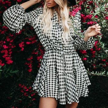 Fashion Popular Women Casual Plaid Long Sleeve Dress