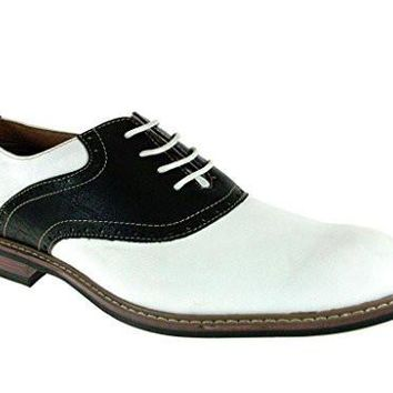 Ferro Aldo Men's 19268A Two Tone Saddle Lace Up Oxfords Shoes