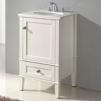 21 Inch Single Bathroom Vanity Set With Off-White Marble Top