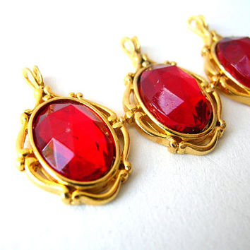 Red Victorian Style Pendant Lot - Pendant with Vintage Cabochons