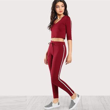 Fashion  Tee With Sweat pants Twopiece V-Neck Crop Top Long Pants  Spring Women Active