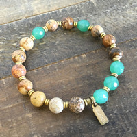 "Picture Jasper and Aventurine ""Balance and Protection"" Bracelet"