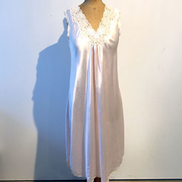 Vintage Christian Dior pale pink satin and lace night dress, designer lingerie, 1970s Dior pink satin lingerie