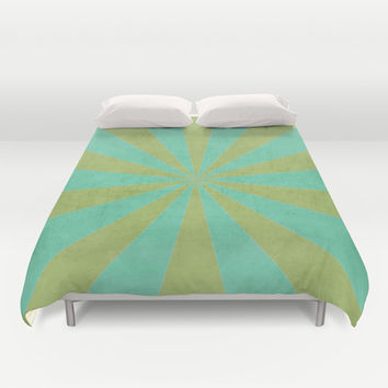 green and mint starburst Duvet Cover by her art