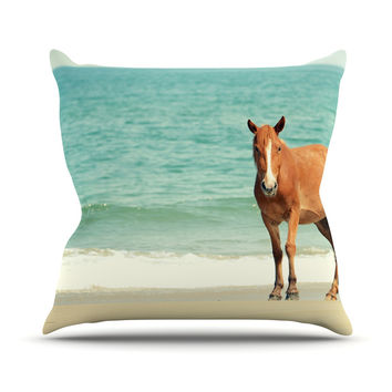 "Robin Dickinson ""Wild Mustang of Carova"" Horse Ocean Throw Pillow"
