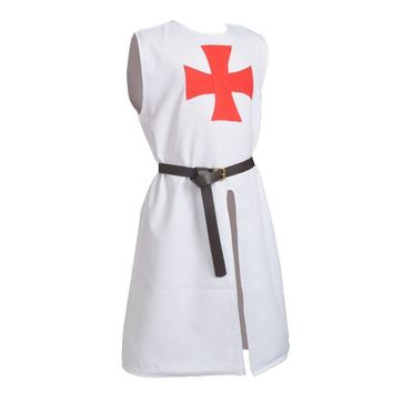 Meidieval Costume Hospitaller Knights Tunic Cloak Cape Belt Gothic Red Cross LARP Cosplay Costume