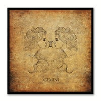 Gemini Horoscope Brown Canvas Print, Black Custom Frame
