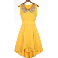 Dress with Shining Golden Collar in Yellow