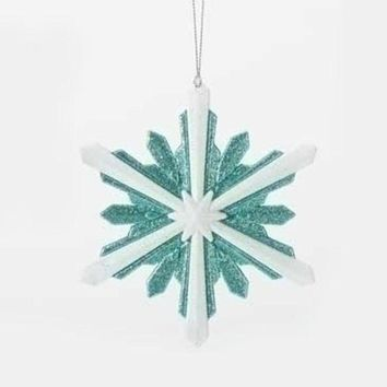ONETOW 5.25' Snowy Winter Glittered White and Minty Blue Starburst Snowflake Christmas Ornament