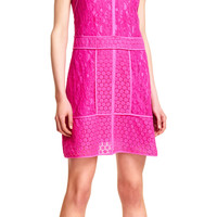 Mixed Media A-line Lace Dress with Piping - Adrianna Papell