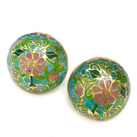 Cloisonne' Enamel Earrings, NOS Floral Buttons, Teal Rose and Emerald Enamel, Half Dome Pierced Earrings, Asian Influenced Style