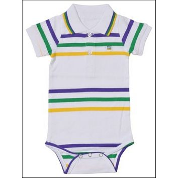 Mardi Gras Infant Thin Striped Romper