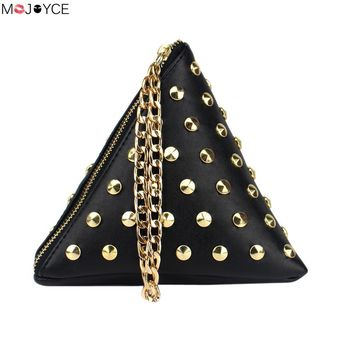 2017 Triangle Shape Day Clutch Women Evening Bag PU Leather Wristlet Purses Small Rivet Handbags Herald Fashion