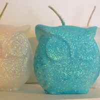 Jeweled Owl candle decor Wedding favors holiday by GlowliteCandles